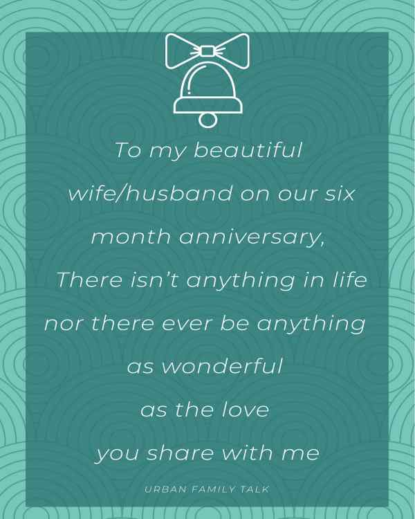 To my beautiful wife/husband on our six month anniversary, There isn't anything in life nor there ever be anything as wonderful as the love you share with me.