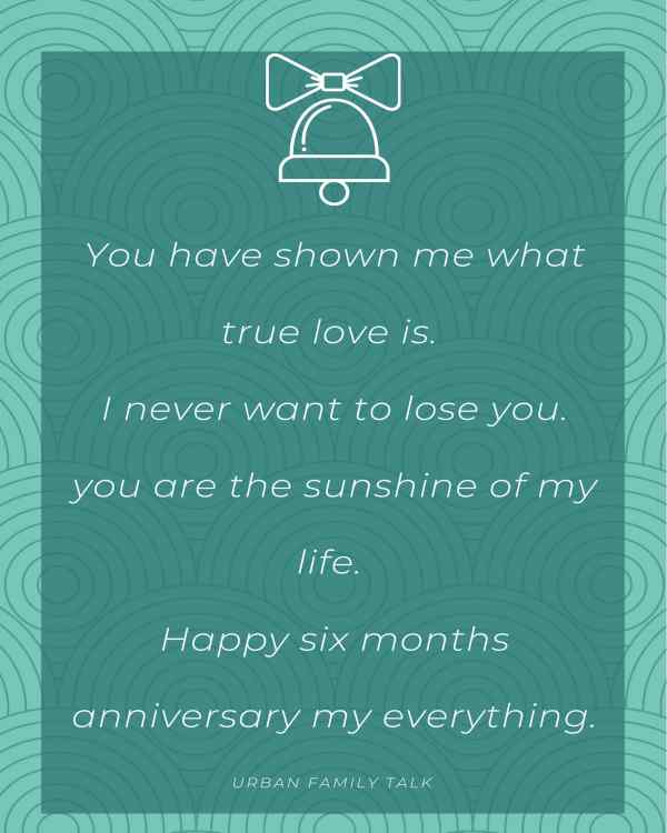 You have shown me what true love is. I never want to lose you.you are the sunshine of my life. Happy six months anniversary my everything.