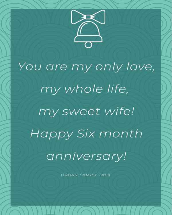 You are my only love, my whole life, my sweet wife! Happy Six month anniversary!