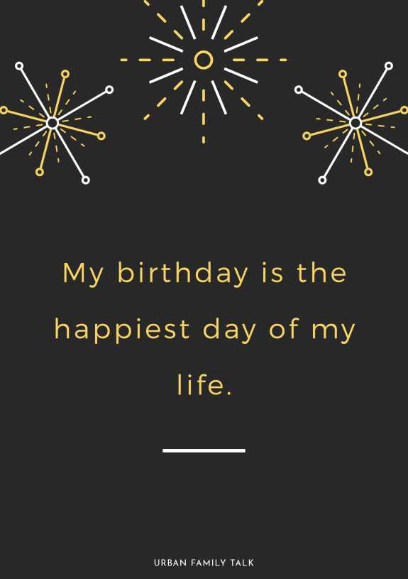 My birthday is the happiest day of my life.