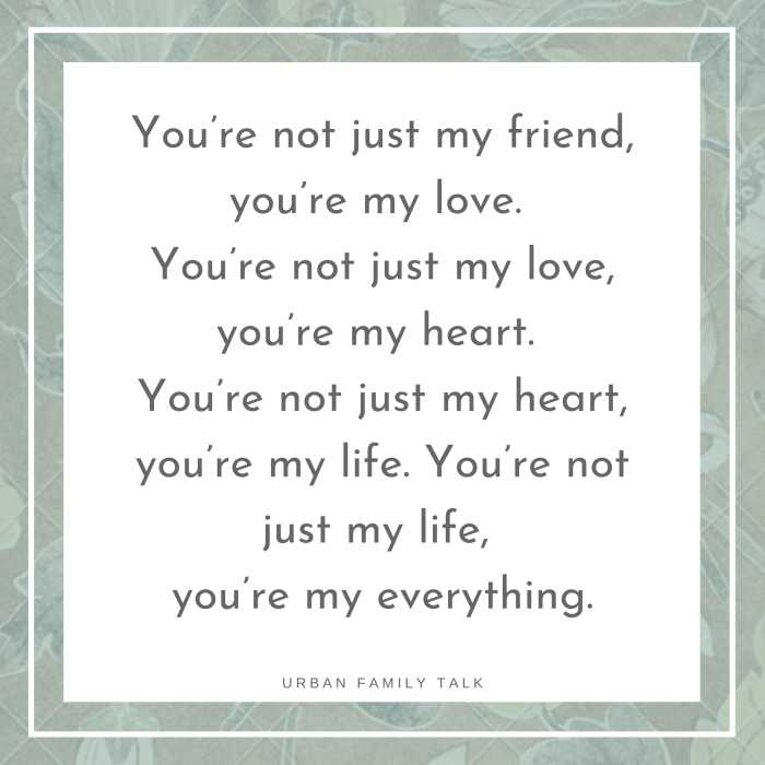 You're not just my friend, you're my love. You're not just my love, you're my heart. You're not just my heart, you're my life. You're not just my life, you're my everything.