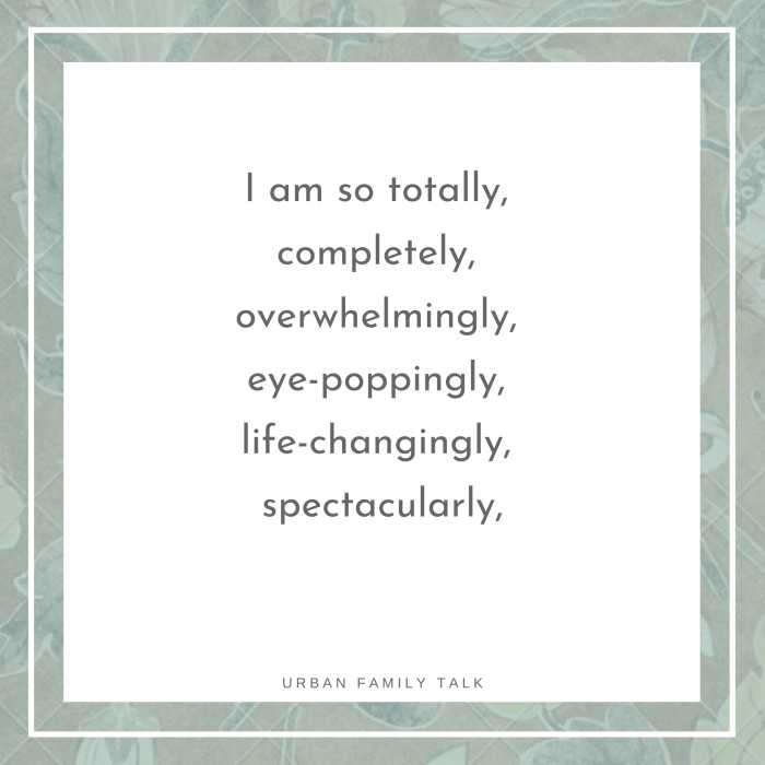 I am so totally, completely, overwhelmingly, eye-poppingly, life-changingly, spectacularly, passionately, deliciously in love with you.