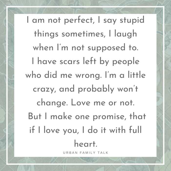 I am not perfect, I say stupid things sometimes, I laugh when I'm not supposed to. I have scars left by people who did me wrong. I'm a little crazy, and probably won't change. Love me or not. But I make one promise, that if I love you, I do it with full heart.