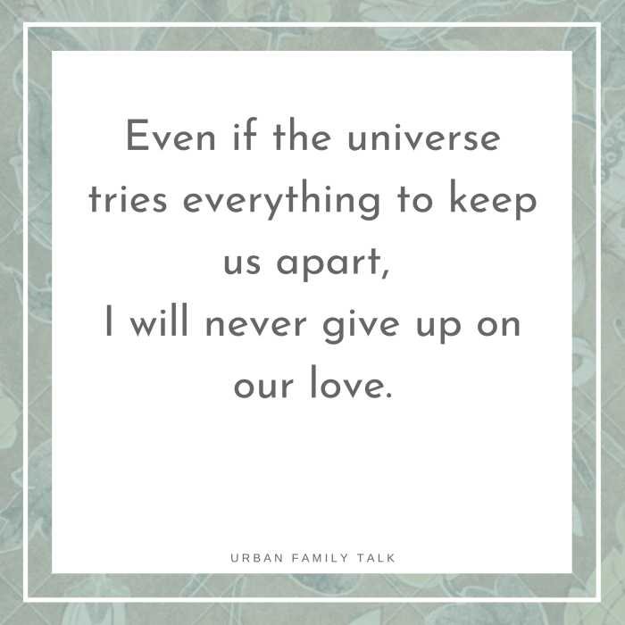 Even if the universe tries everything to keep us apart, I will never give up on our love.