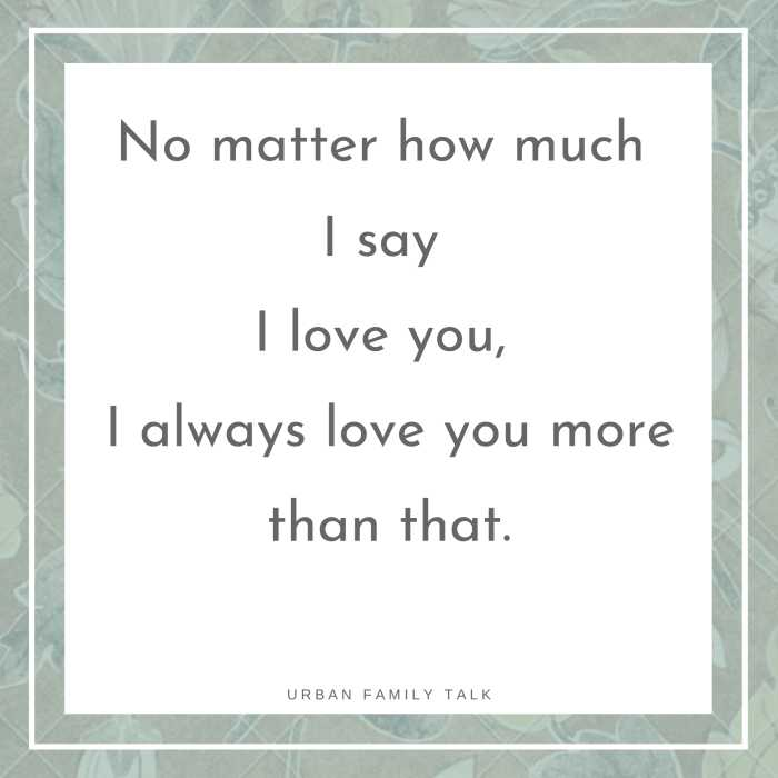 No matter how much I say I love you, I always love you more than that.