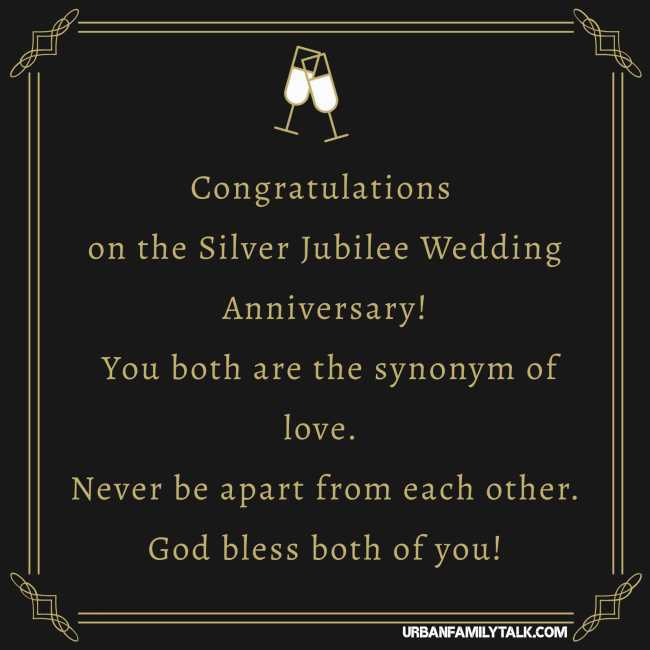 Congratulations on the Silver Jubilee Wedding Anniversary! You both are the synonym of love. Never be apart from each other. God bless both of you!