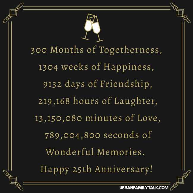 300 Months of Togetherness, 1304 weeks of Happiness, 9132 days of Friendship, 219,168 hours of Laughter, 13,150,080 minutes of Love, 789,004,800 seconds of Wonderful Memories. Happy 25th Anniversary!