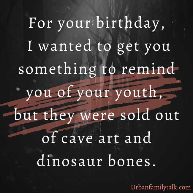 For your birthday, I wanted to get you something to remind you of your youth, but they were sold out of cave art and dinosaur bones.