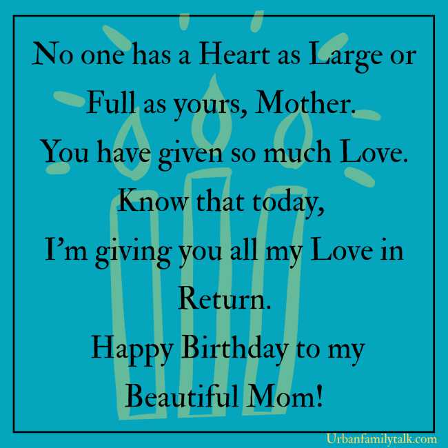 No one has a Heart as Large or Full as yours, Mother. You have given so much Love. Know that today, I'm giving you all my Love in Return. Happy Birthday to my Beautiful Mom!