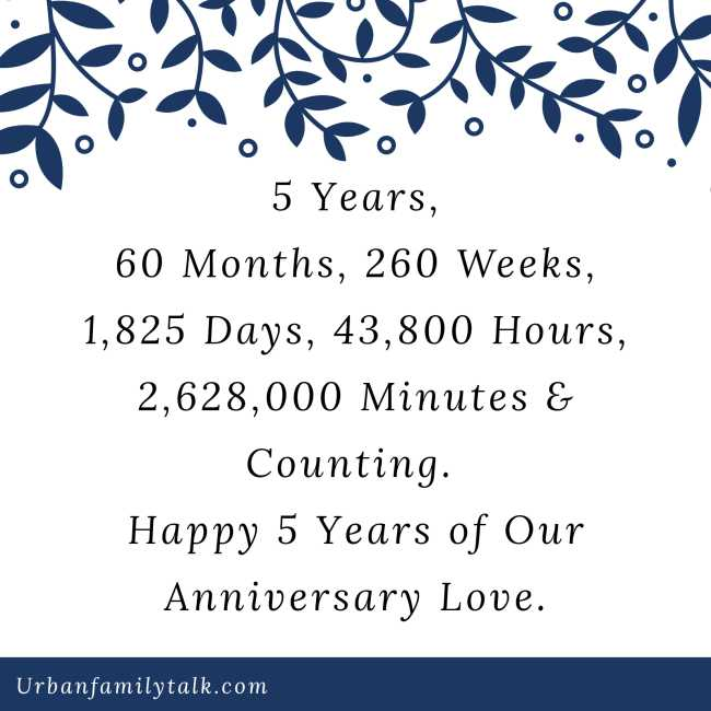 5 Years, 60 Months, 260 Weeks, 1,825 Days, 43,800 Hours, 2,628,000 Minutes & Counting. Happy 5 Years of Our Anniversary Love.