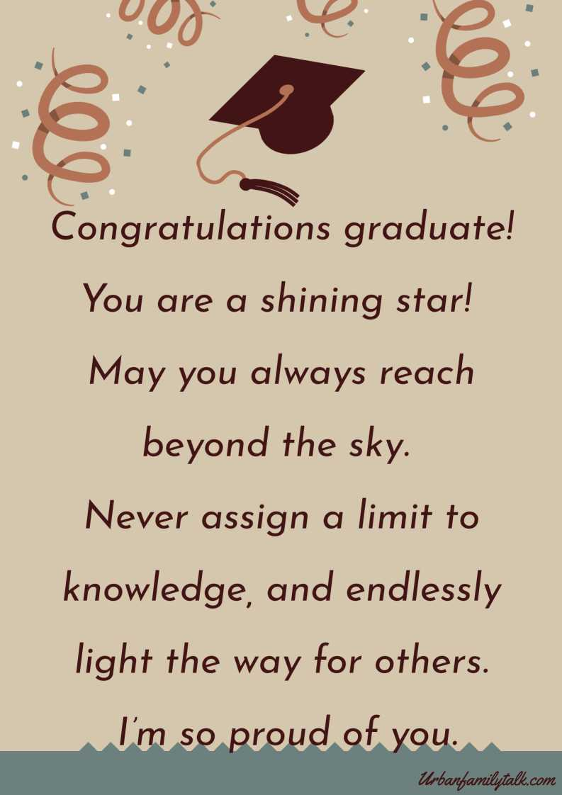 On this day a new pinnacle has been reached look down and be proud of all you've accomplished look up and anticipate all you have to achieve live this moment your moment. Well done you did it!