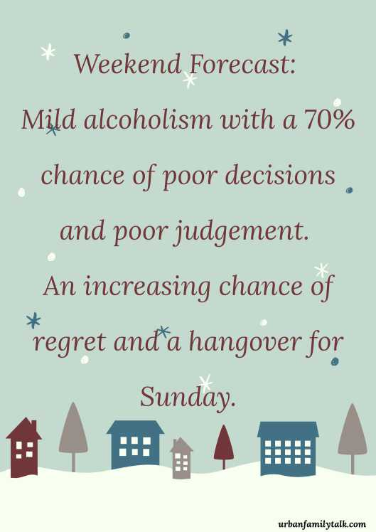Weekend Forecast: Mild alcoholism with a 70% chance of poor decisions and poor judgement. An increasing chance of regret and a hangover for Sunday.