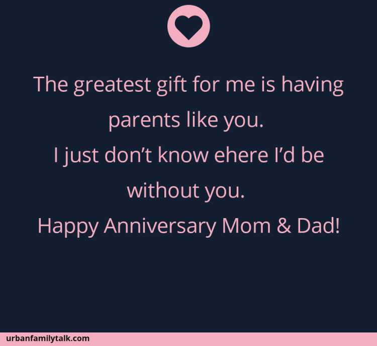 The greatest gift for me is having parents like you. I just don't know ehere I'd be without you. Happy Anniversary Mom & Dad!