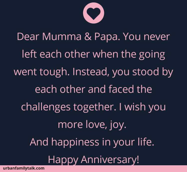 Dear Mumma & Papa. You never left each other when the going went tough. Instead, you stood by each other and faced the challenges together. I wish you more love, joy. And happiness in your life. Happy Anniversary!