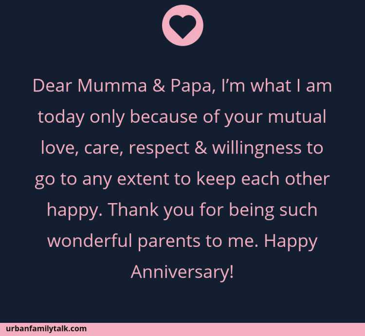 Dear Mumma & Papa, I'm what I am today only because of your mutual love, care, respect & willingness to go to any extent to keep each other happy. Thank you for being such wonderful parents to me. Happy Anniversary!