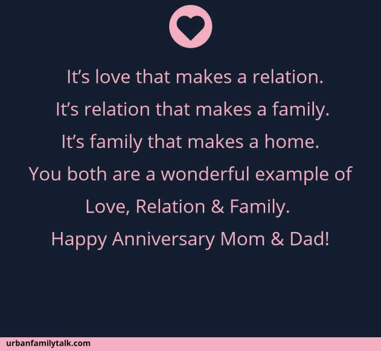 It's love that makes a relation. It's relation that makes a family. It's family that makes a home. You both are a wonderful example of Love, Relation & Family. Happy Anniversary Mom & Dad!