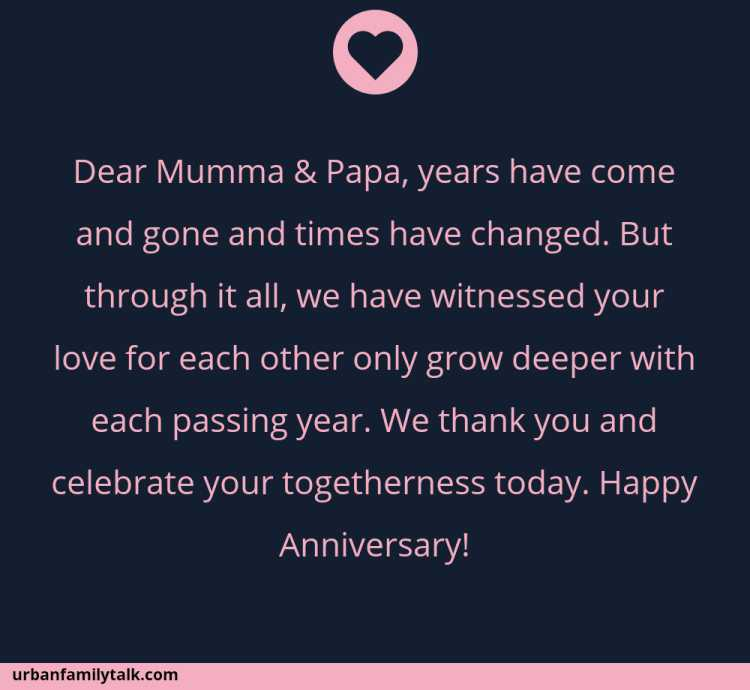 Dear Mumma & Papa, years have come and gone and times have changed. But through it all, we have witnessed your love for each other only grow deeper with each passing year. We thank you and celebrate your togetherness today. Happy Anniversary!