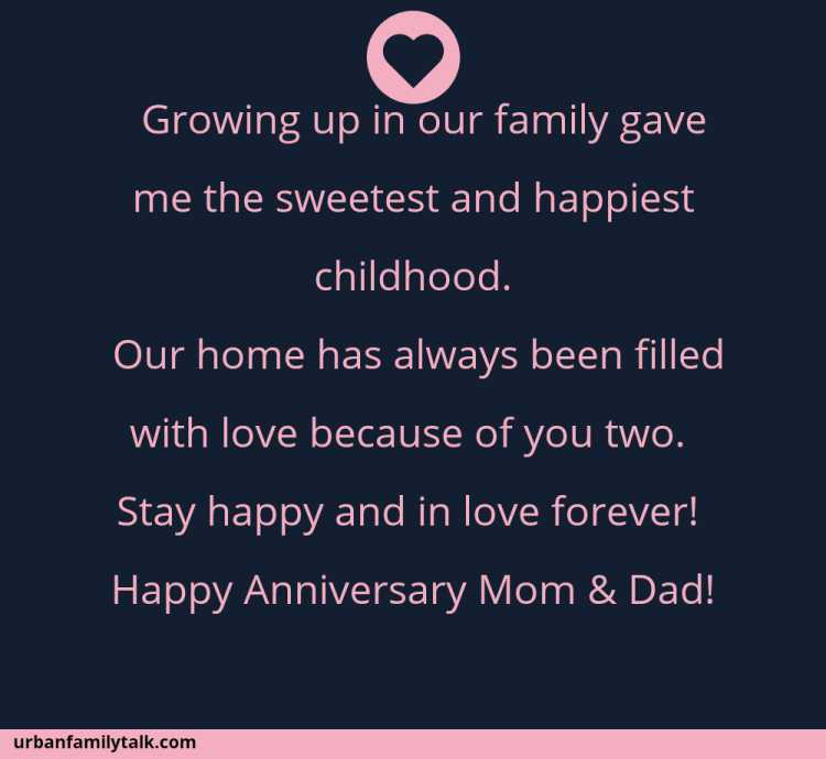 Growing up in our family gave me the sweetest and happiest childhood. Our home has always been filled with love because of you two. Stay happy and in love forever! Happy Anniversary Mom & Dad!
