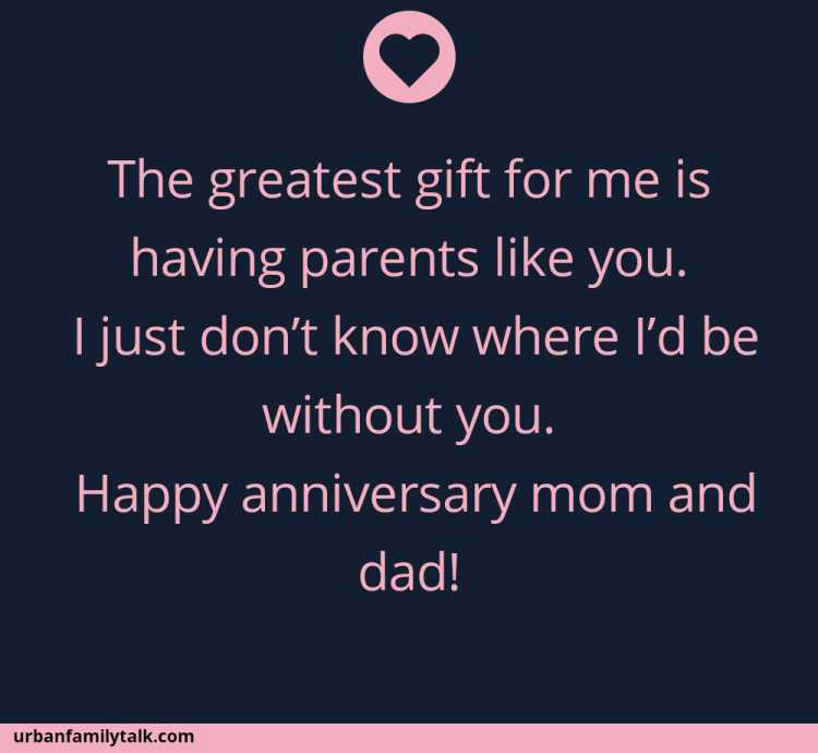 The greatest gift for me is having parents like you. I just don't know where I'd be without you. Happy anniversary mom and dad!