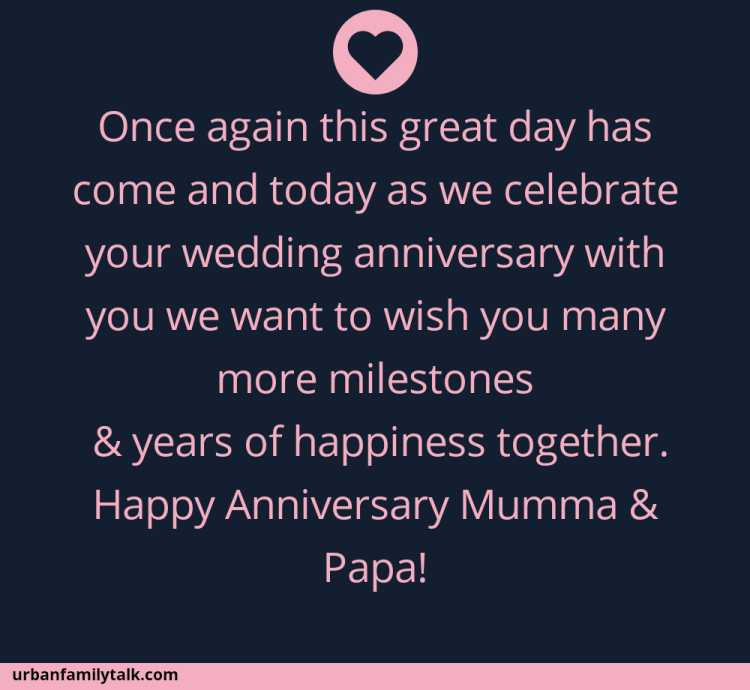 Once again this great day has come and today as we celebrate your wedding anniversary with you we want to wish you many more milestones & years of happiness together. Happy Anniversary Mumma & Papa!