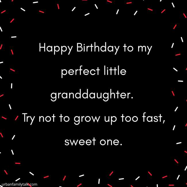 Happy Birthday to my perfect little granddaughter. Try not to grow up too fast, sweet one.