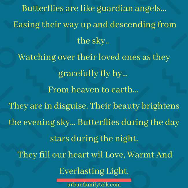 Butterflies are like guardian angels… Easing their way up and descending from the sky.. Watching over their loved ones as they gracefully fly by… From heaven to earth… They are in disguise. Their beauty brightens the evening sky… Butterflies during the day stars during the night. They fill our heart will Love, Warmt And Everlasting Light.