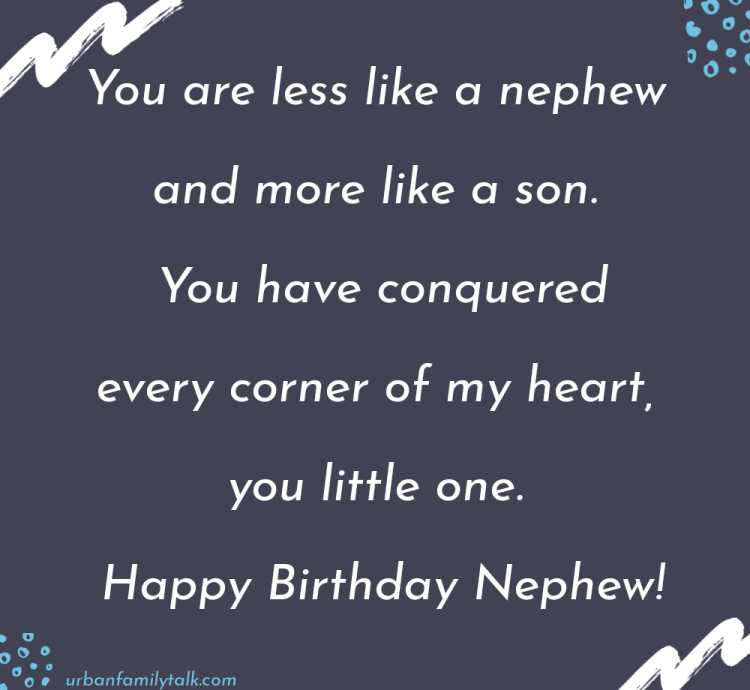Dear Nephew. On your birthday I wish great things for you you're someone who deserves the best I wish you success. Happy Birthday!