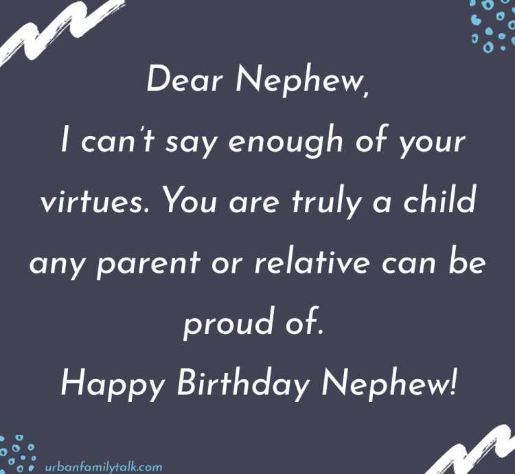 Dear Nephew, I can't say enough of your virtues. You are truly a child any parent or relative can be proud of. Happy Birthday Nephew!