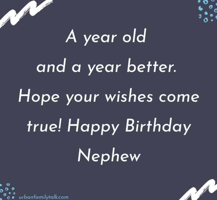 A year old and a year better. Hope your wishes come true! Happy Birthday Nephew!