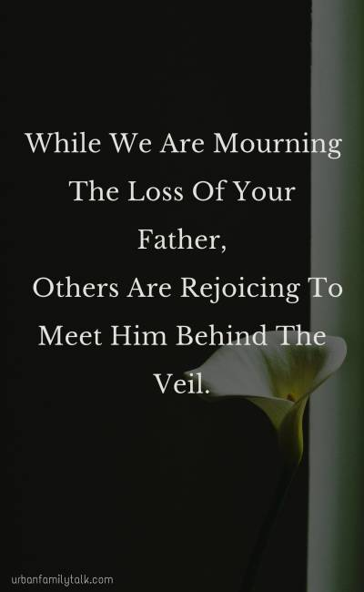 While We Are Mourning The Loss Of Your Father, Others Are Rejoicing To Meet Him Behind The Veil.
