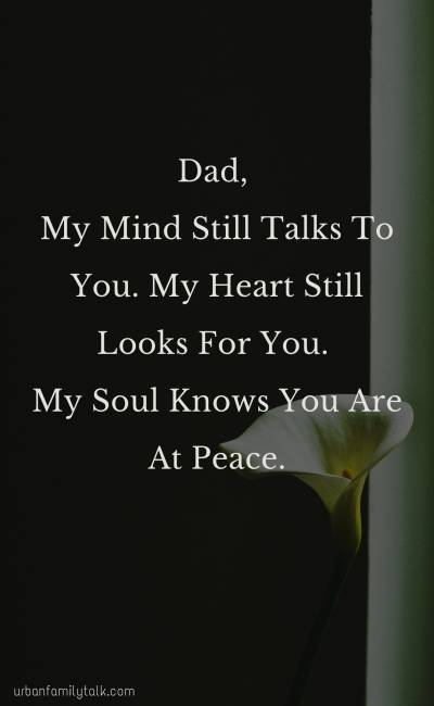 Dad, My Mind Still Talks To You. My Heart Still Looks For You. My Soul Knows You Are At Peace.