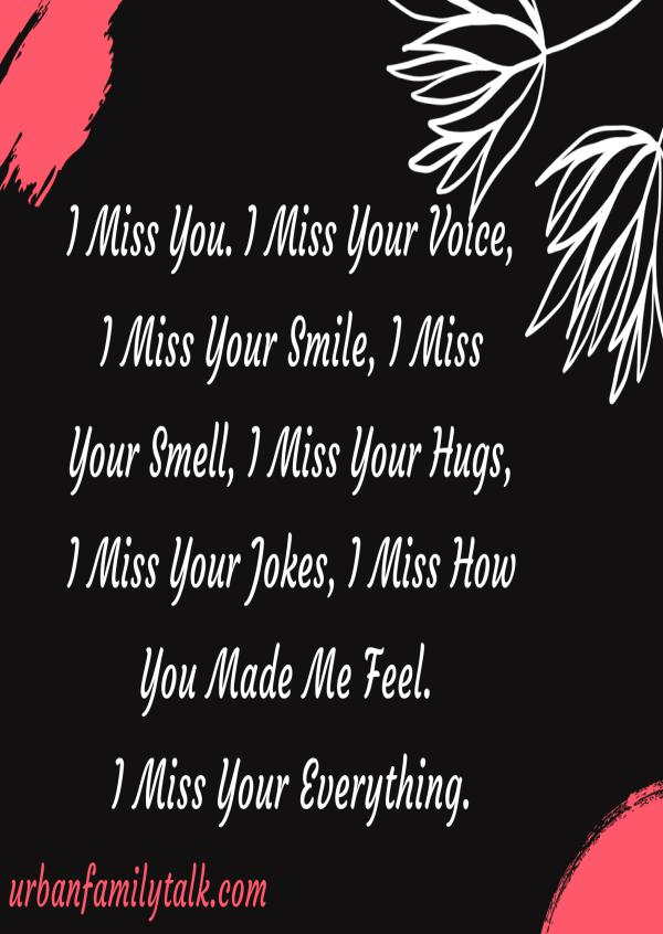 I Miss You. I Miss Your Voice, I Miss Your Smile, I Miss Your Smell, I Miss Your Hugs, I Miss Your Jokes, I Miss How You Made Me Feel. I Miss Your Everything.