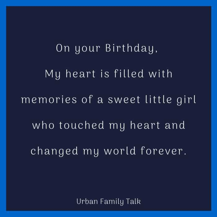 On your Birthday, My heart is filled with memories of a sweet little girl who touched my heart and changed my world forever.