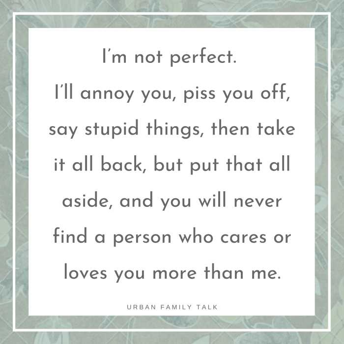 I'm not perfect. I'll annoy you, piss you off, say stupid things, then take it all back, but put that all aside, and you will never find a person who cares or loves you more than me.