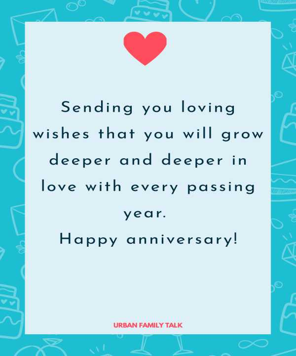 Sending you loving wishes that you will grow deeper and deeper in love with every passing year. Happy anniversary!