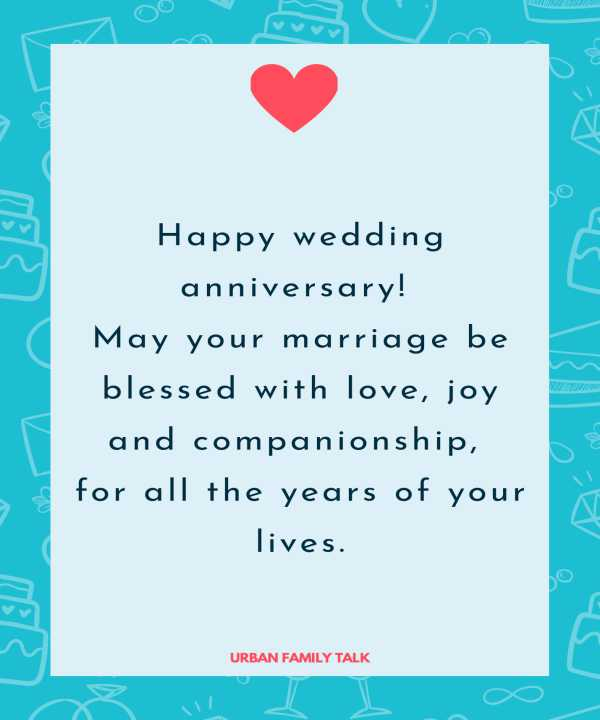 Happy wedding anniversary! May your marriage be blessed with love, joy and companionship, for all the years of your lives