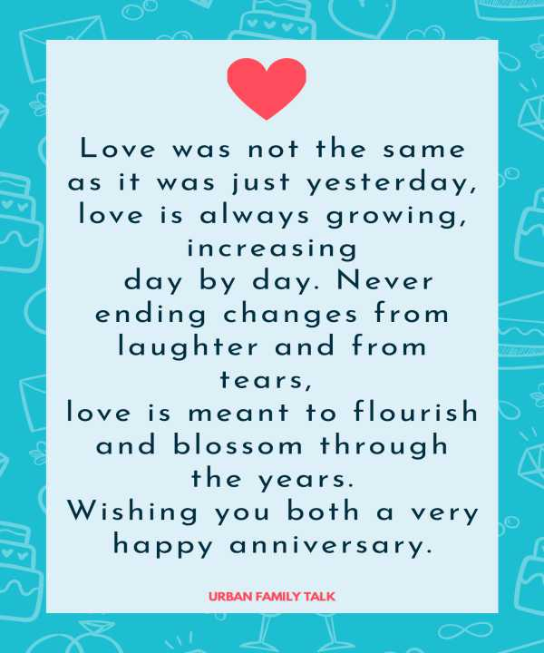 Love was not the same as it was just yesterday, love is always growing, increasing day by day. Never ending changes from laughter and from tears, love is meant to flourish and blossom through the years. Wishing you both a very happy anniversary.