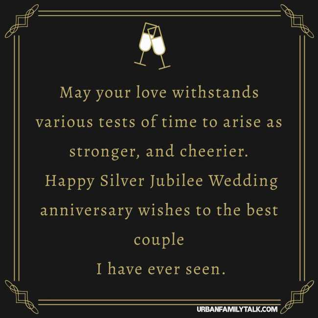 May your love withstands various tests of time to arise as stronger, and cheerier. Happy Silver Jubilee Wedding anniversary wishes to the best couple I have ever seen.