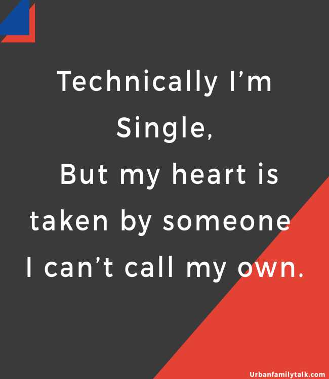 Technically I'm Single, But my heart is taken by someone I can't call my own.