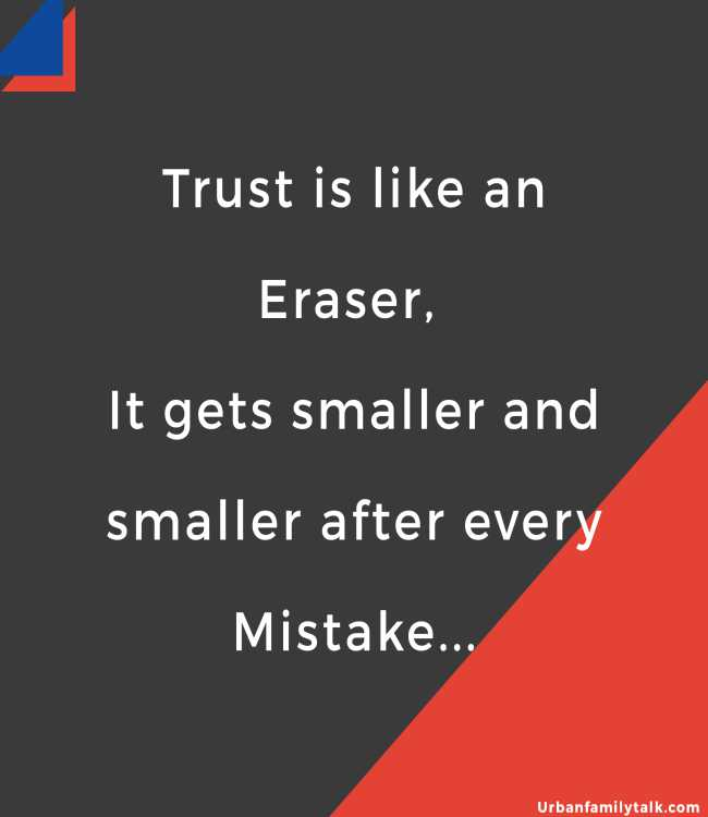 Trust is like an Eraser, It gets smaller and smaller after every Mistake...
