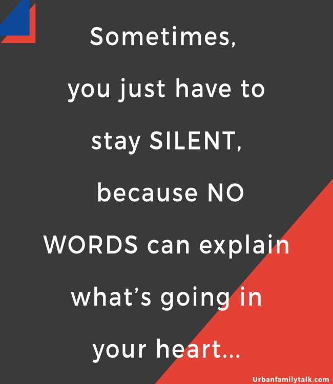 Sometimes, you just have to stay SILENT, because NO WORDS can explain what's going in your heart...