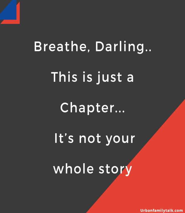 Breathe, Darling.. This is just a Chapter... It's not your whole story