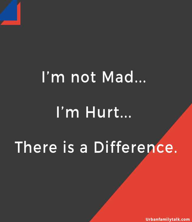 I'm not Mad... I'm Hurt... There is a Difference.