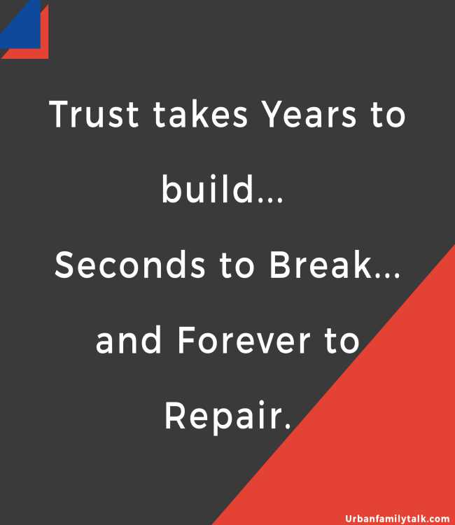 Trust takes Years to build... Seconds to Break... and Forever to Repair.