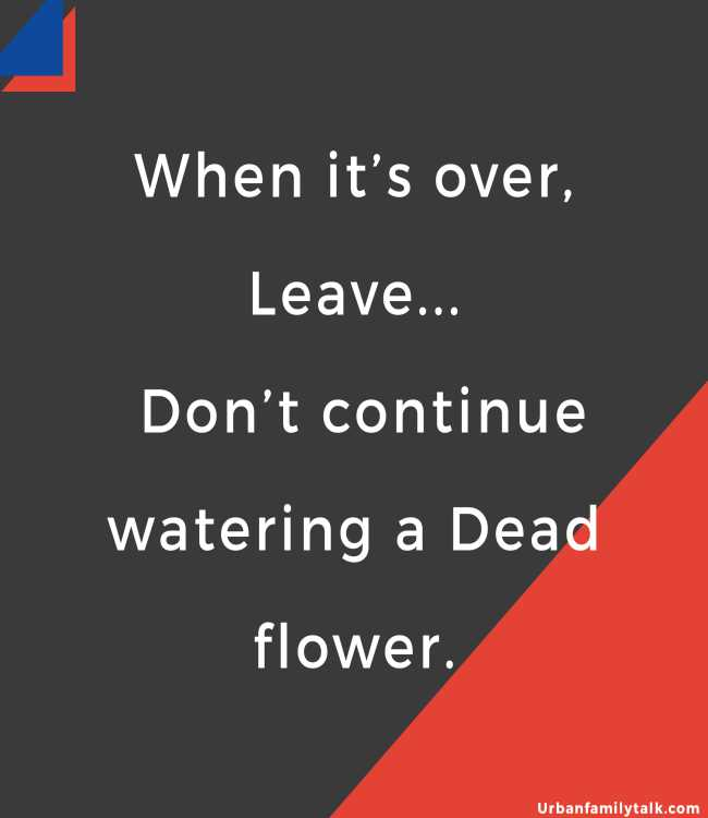 When it's over, Leave... Don't continue watering a Dead flower.