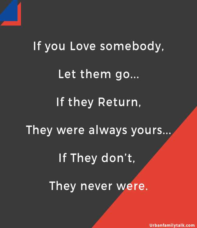 If you Love somebody, Let them go... If they Return, They were always yours... If They don't, They never were.