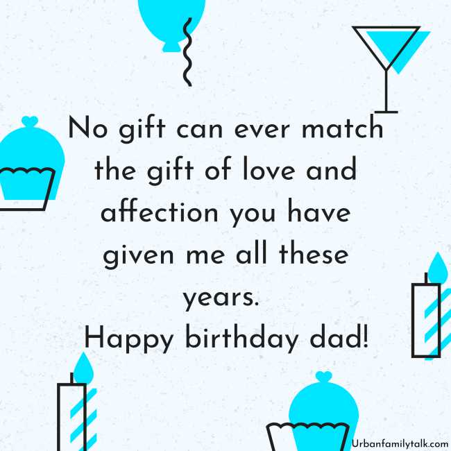 No gift can ever match the gift of love and affection you have given me all these years. Happy birthday dad!