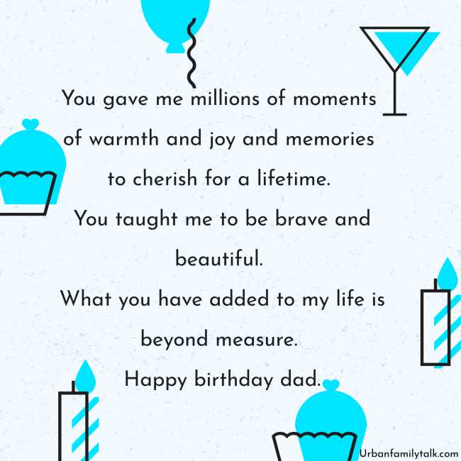 You gave me millions of moments of warmth and joy and memories to cherish for a lifetime. You taught me to be brave and beautiful. What you have added to my life is beyond measure. Happy birthday, dad.
