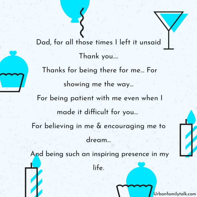 Dad, for all those times I left it unsaid Thank you…. Thanks for being there for me… For showing me the way… For being patient with me even when I made it difficult for you… For believing in me & encouraging me to dream… And being such an inspiring presence in my life.