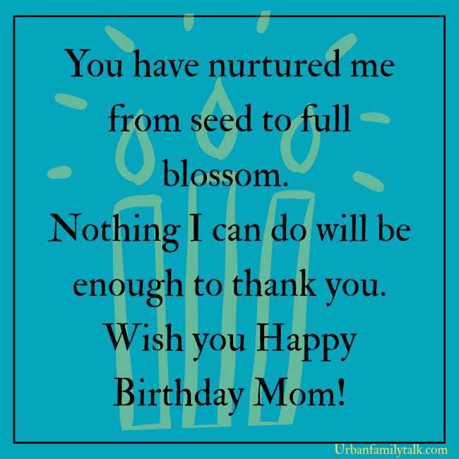 You have nurtured me from seed to full blossom. Nothing I can do will be enough to thank you. Wish you Happy Birthday Mom!